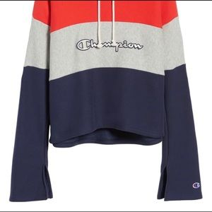 Champion Colorblock Cropped Pullover Hoodie